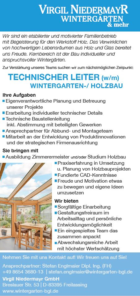 Stellenanzeige Technischer Leiter für Wintergarten-/Holzbau in Freilassing